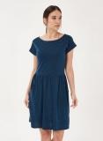 Kurzarmkleid aus Bio-Baumwolle und Tencel in Navy Blau | Grundstoff.net